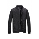 Mens Plain Black Stand Collar Long Sleeve Zip Up Lightweight Quilted Jacket with Pocket