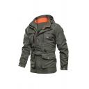 Cool Letter ROUGH STOCK Printed Long Sleeve Zip Closure Hooded Windbreaker Outdoor Field Jacket