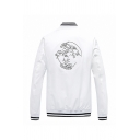 Fancy Cartoon Character Embroidery Back Long Sleeve Rib Cuff and Hem Zipper Pocket Classic Baseball Jacket
