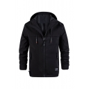 Mens Sportive Long Sleeve Zip Up Loose Fit Casual Plain Hooded Jacket Coat with Pocket