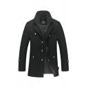 New Trendy Solid Color Double-Collar Long Sleeve Hidden-Zip Placket Casual Woolen Coat