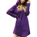 Womens Casual Plain Pouch Pocket Arc Hem Oversized Longline Hoodie Midi Dress