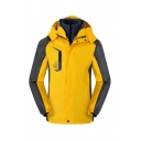 Mens Stylish Colorblock Long Sleeve Zip Closure Detachable Hood 3 in 1 Jacket Outdoor Sports Outerwear
