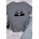 Girls Lovely BORING Cartoon Panda Pattern Rolled Short Sleeve Loose Fit Casual Tee