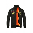 Mens Stylish Letter SAIXIANG Dragon Printed Long Sleeve Stand Up Collar Zip Up Black & Orange Reversible Sports Jacket Coat