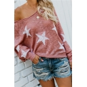 Fashionable Stars Pattern Long Sleeve One-Shoulder Loose Knitted Sweater Top