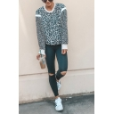 Womens Street Style Black and White Leopard Printed Long Sleeve Contrast Trim Regular Fit Casual Sweatshirt