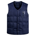 Mens Stylish Plain Button Down Sleeveless Zipper Embellished Loose Fit Warm Puffer Jacket Vest