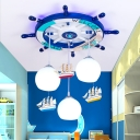 Round Rudder Ceiling Light with Globe Glass Shade Nautical Wood Pendant Lighting