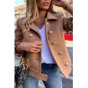 Womens Popular Solid Color Lapel Collar Long Sleeve Double Breasted Short Wool Coat Casual Peacoat