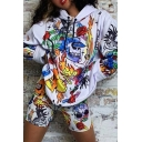 Halloween Popular Skull Graffiti Printed Long Sleeve Oversized Drawstring Hoodie