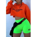 Orange Simple Letter COAL N TERRY Printed Long Sleeve Cropped Hoodie
