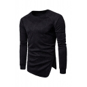 Unique Plain Embossed Design Asymmetric Hem Fitted Pullover Sweatshirt