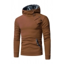 Simple Camo Splice Lined Oblique Button Kangaroo Pocket Slim Fit Pullover Hoodie