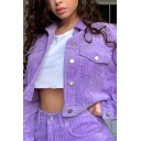 Women's Casual Long Sleeve Flap Pocket Solid Color Corduroy Cropped Jacket Coat