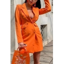 Plain Orange Notched Lapel Long Sleeve Double Breasted Longline Suit Blazer Dress with Pocket