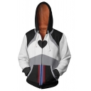 New Stylish Black and White 3D Anime Printed Long Sleeve Cosplay Costume Zip Up Drawstring Hoodie
