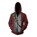 Guys Cool 3D Printed Colorblock Long Sleeve Full Zip Red Cosplay Hoodie