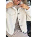 Womens Retro Warm Long Sleeve Single Breasted Cream Plain Sherpa Short Coat with Pocket