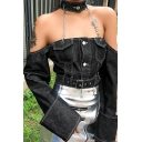 Hot Sale Womens Sexy Chain Halter Neck Off Shoulder Long Sleeve Black Denim Crop Cargo Jacket Coat