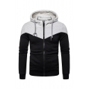 Mens Casual Two-Tone Long Sleeve Zip Up Slim Fit Daily Wear Drawstring Hoodie
