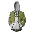Men's Fashion 3D Comic Long Sleeve Zip Up Pea Green and White Casual Cosplay Hoodie