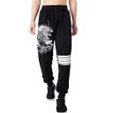 Men's Cool Fashion Dragon Stripe Printed Drawstring Waist Relaxed Jogging Sweatpants