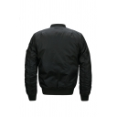 Mens Casual Plain Letter Ribbon Embellished Long Sleeve Zip Up Flight Jacket with Flap Pocket