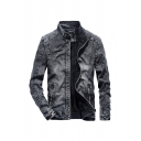 Winter Fashionable Stand Collar Long Sleeve Full Zip Slim Fit Black Denim Coat Jacket