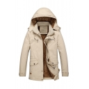 Mens Warm Light Khaki Plain Flap Pocket Long Sleeve Zip Up Longline Thick Padded Coat with Hood