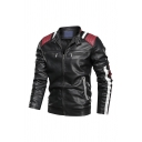 Men's Casual Black Faux Leather Color Block Long Sleeve Zipper Decoration Lightweight Motor Jacket with Zip Closure