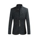 Mens Chinese Style Stand Collar Long Sleeve Button Front Slim Fit Plain Blazer Wool Coat