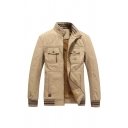 Mens Simple Plain Stand Collar Long Sleeve Flap Pocket Zipper Up Khaki Thick Jacket Coat