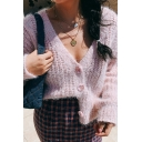 Ladies Elegant Loose Solid Color Long Sleeve Button Front Soft Eyelash Knit Sweater Cardigan
