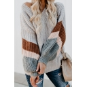 Ladies Casual Striped Balloon Long Sleeve V-Neck Chunky Knit Oversized Pullover Sweater