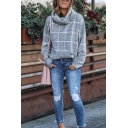 Womens Fashion Grid Printed Turtleneck Long Sleeve Side Split Loose Relaxed Pullover Sweater