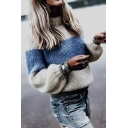 Womens Stylish Crew Neck Long Sleeve Blue and White Striped Mohair Pullover Sweater