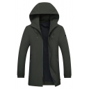Mens Simple Dark Green Solid Color Elastic Cuff Zip Up Longline Trench Coat with Hood