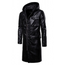 Mens Cool Plain Black PU Leather Long Sleeve Full Zip Longline Jacket Hooded Overcoat with Flap Pocket
