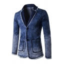 Mens Stylish Long Sleeve Notched Lapel Long Sleeve Double Button Raw Edges Faded Denim Blazer Jacket with Pocket