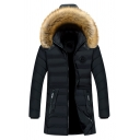 Mens Simple Detachable Fur Trimmed Hood Zip Placket Letter Ribbon Zipper Pocket Black Long Parka Down Coat