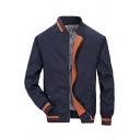 Mens New Trendy Dark Blue Long Sleeve Zip Placket Contrast Trim Casual Baseball Jacket