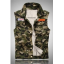 ABNVEHEGT Letter Patch Camouflage Pattern Sleeveless Lapel Collar Single Breasted Fitted Green Jean Vest