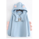 Girls Cute Moon Cat Embroidery Pattern Long Sleeve Oversized Unique Hoodie