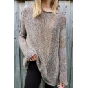Womens New Stylish Long Sleeve Knitted Solid Color Tunic Pullover Sweater with Seam Detail