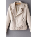 Womens Casual Notched Collar Side Zip Placket Long Sleeve Belted Crop PU Leather Moto Jacket