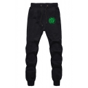 Mens Casual Fist Printed Drawstring Waist Black Loose Jogger Pants