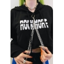 Women Popular Letter ROCK MORE Print Chain Detail Black Drawstring Crop Hoodie