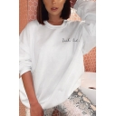 Womens Popular Embroidery Letter SUCH CUTE Printed Round Neck White Thick Oversized Tunic Sweatshirt