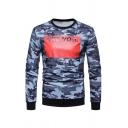 Classic Camo Colorblock LIKE YOU Letter Printed Long Sleeve Slim Fit Pullover Sweatshirt